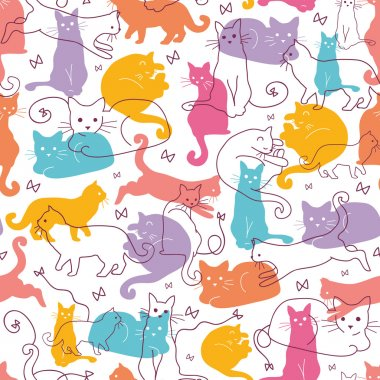 Colorful Cats Seamless Pattern Background