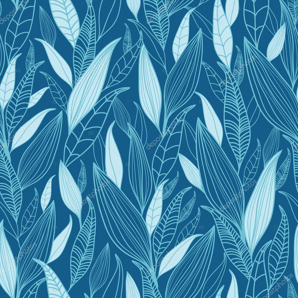 Blue Bamboo Leaves Seamless Pattern Background
