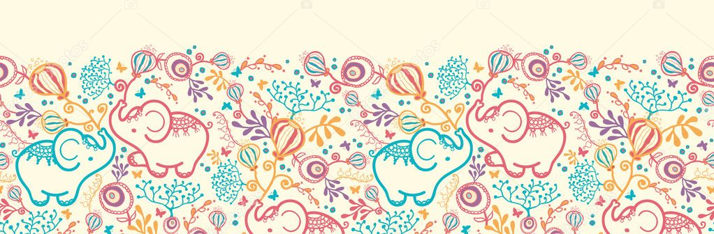 Elephants With Flowers Horizontal Seamless Pattern Border