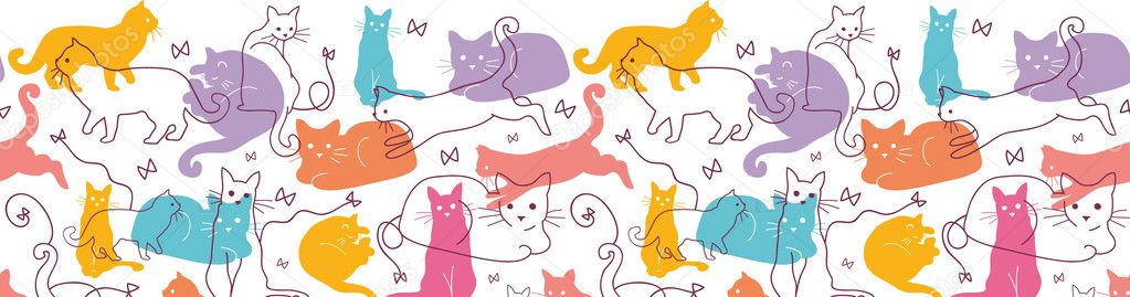 Colorful Cats Horizontal Seamless Pattern Border