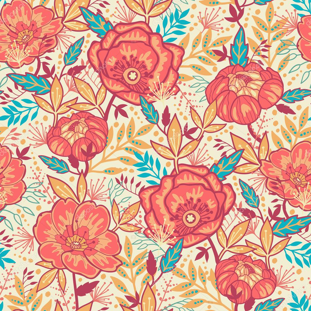 Bright Garden Flowers Seamless Pattern