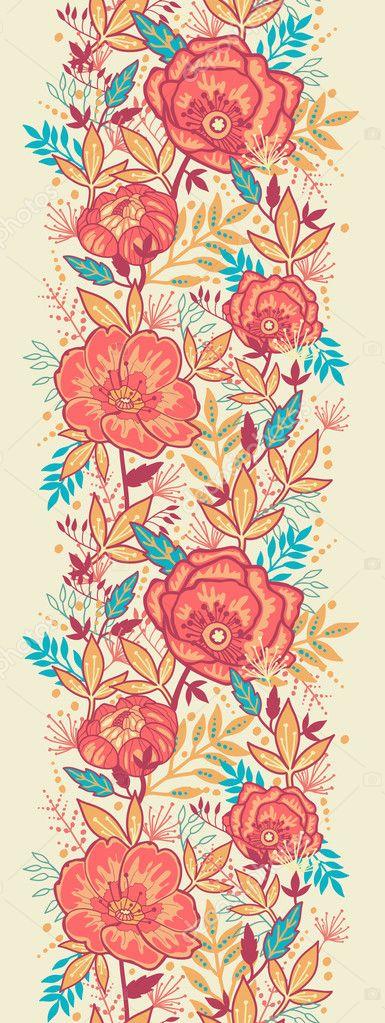 Bright Garden Flowers Vertical Seamless Pattern Border