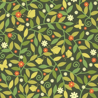 Butterflies Among Branches Seamless Pattern Background