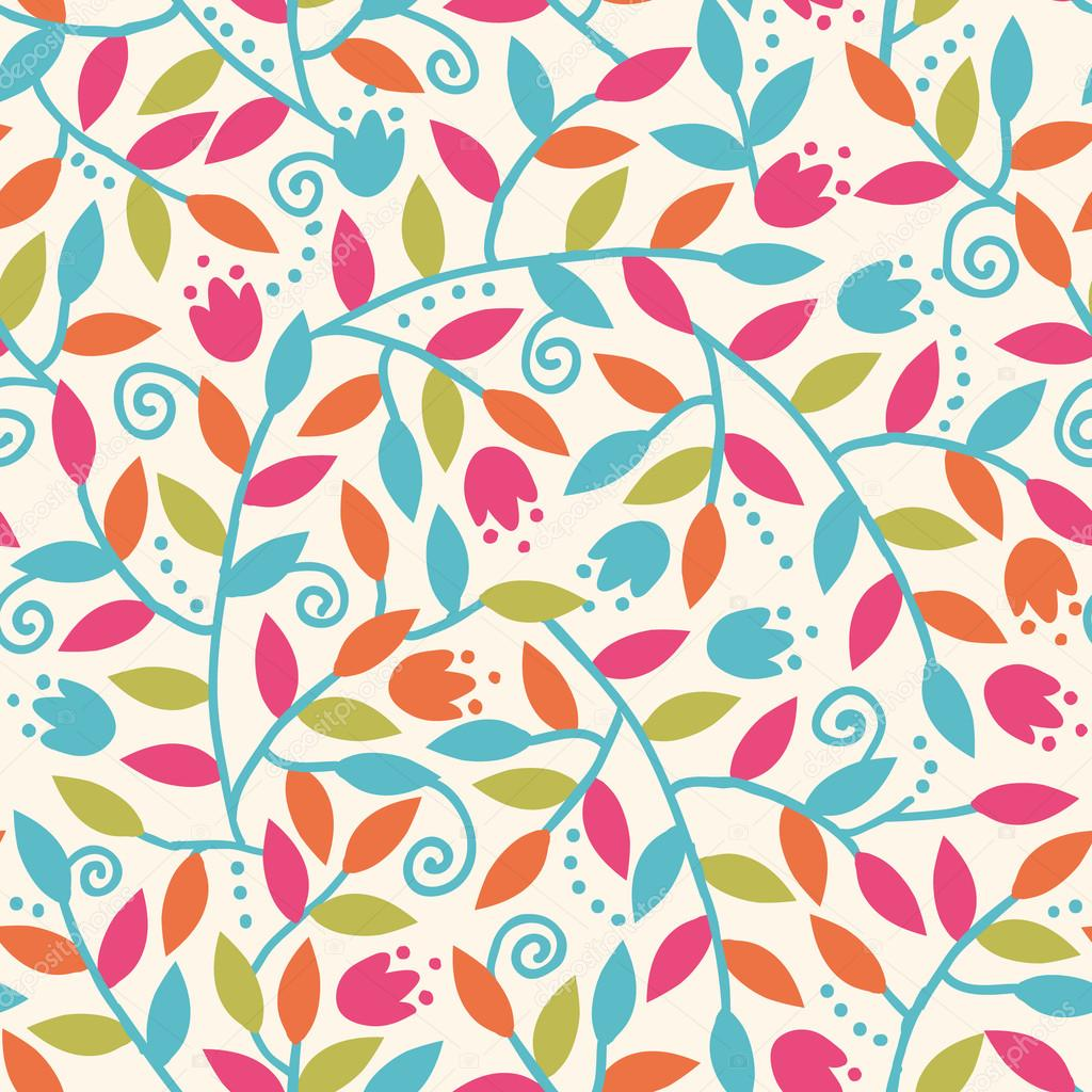 Colorful Branches Seamless Pattern Background