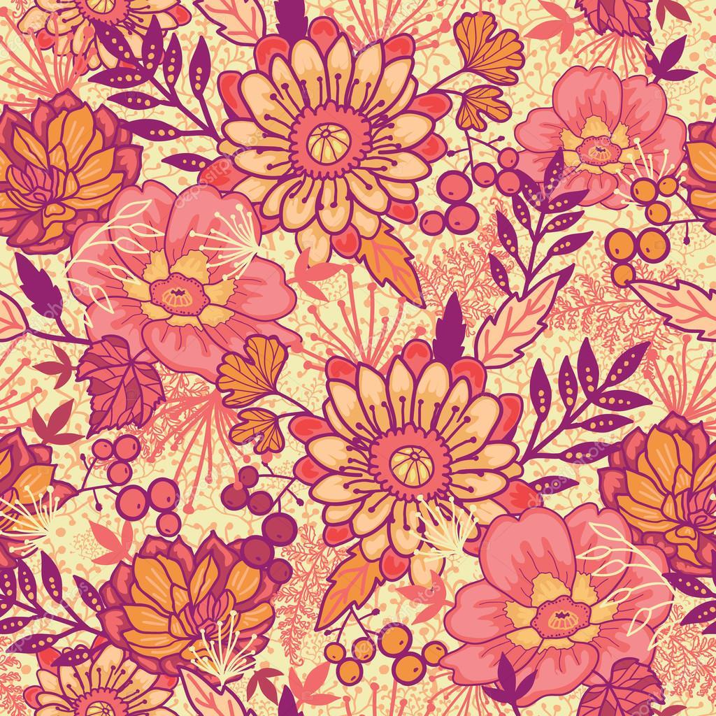 Fall flowers seamless pattern background