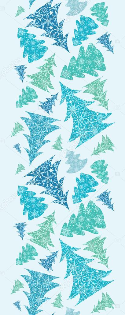 copo de nieve con textura navidad rboles de patrones sin fisuras verticales frontera u vector de oksanciaart