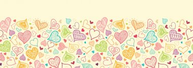 Vector Doodle Hearts Horizontal Seamless Pattern Background ornament with many hand drawn heart shapes. Perfect for Valentine's Day design. clip art vector