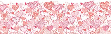 Vector Valentine's Day Hearts Horizontal Seamless Pattern Background Ornament with many hand drawn heart shapes. Perfect for day of romance stock vector