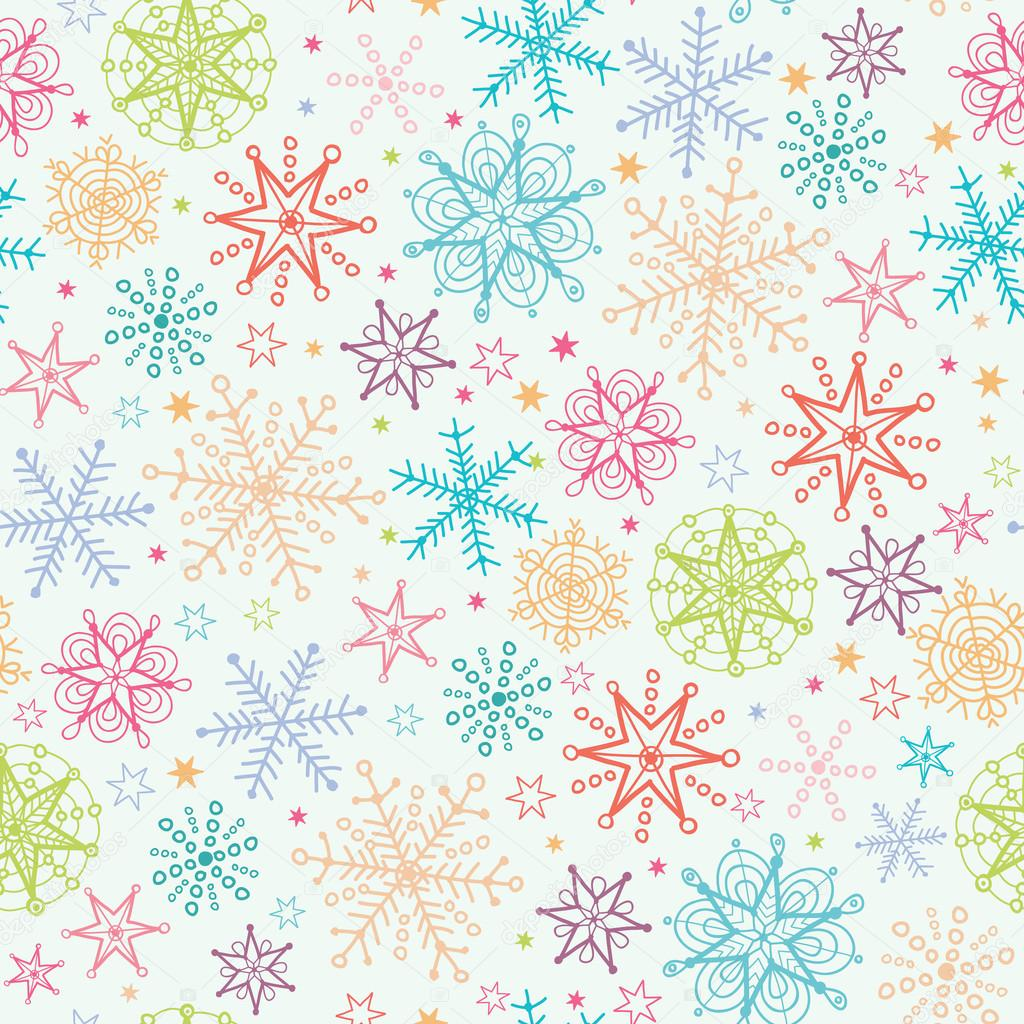 Colorful Doodle Snowflakes Seamless Pattern Background