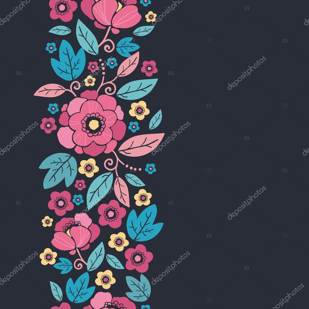 Night Kimono Blossom Vertical Seamless Pattern Border