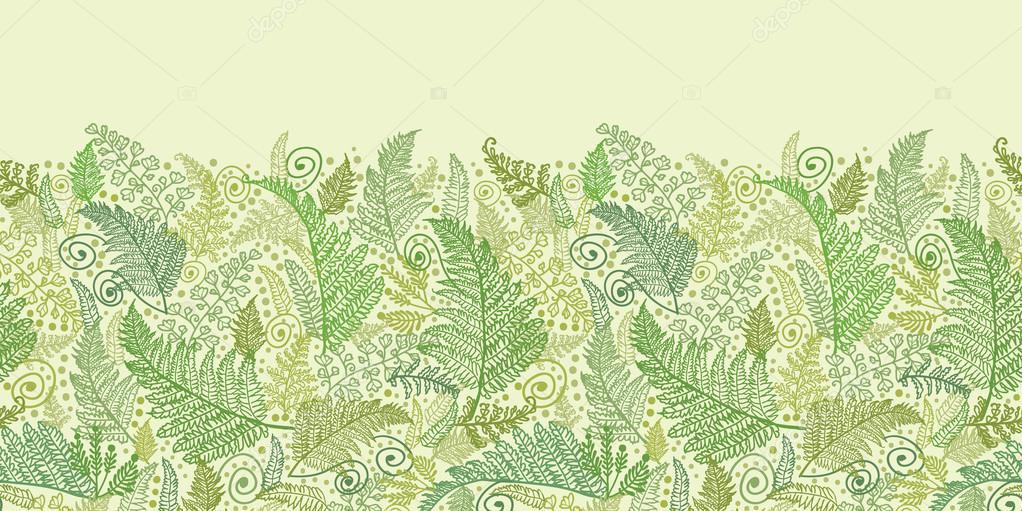 Green Fern Leaves Horizontal Seamless Pattern Border