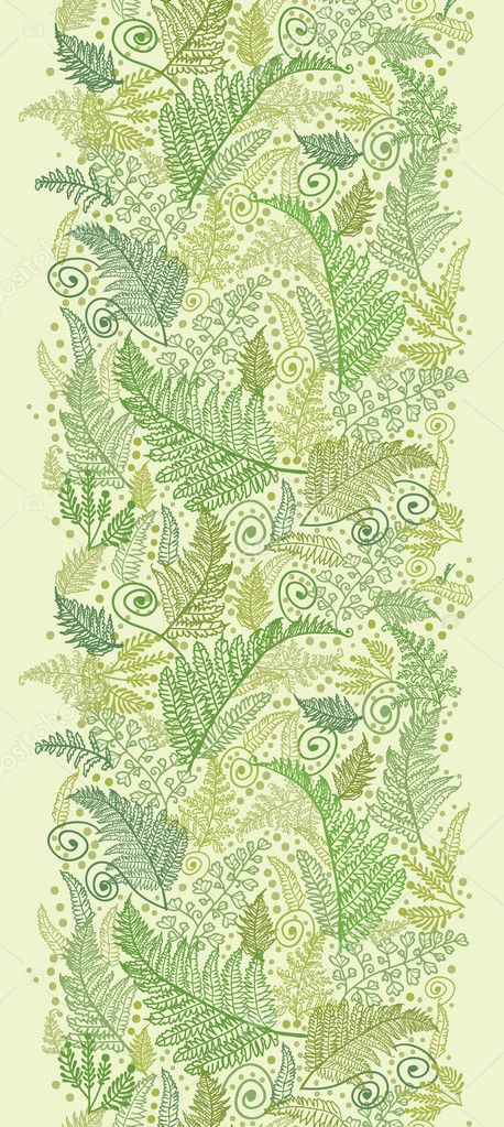 Green Fern Leaves Vertical Seamless Pattern Border