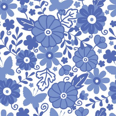 Delft blue Dutch flowers seamless pattern background