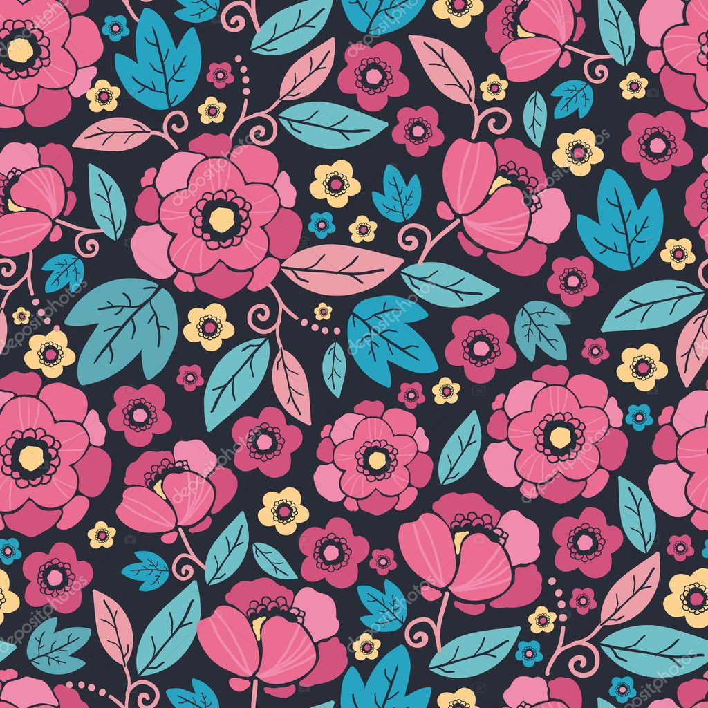 Night Kimono Blossom Seamless Pattern Background