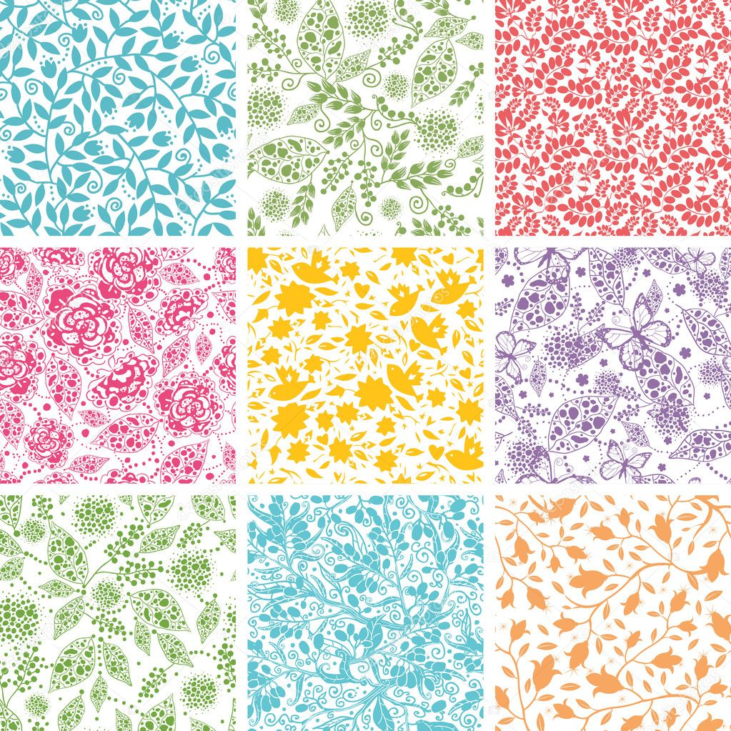 Set Of Nine Abstract Floral Seamless Patterns Backgrounds