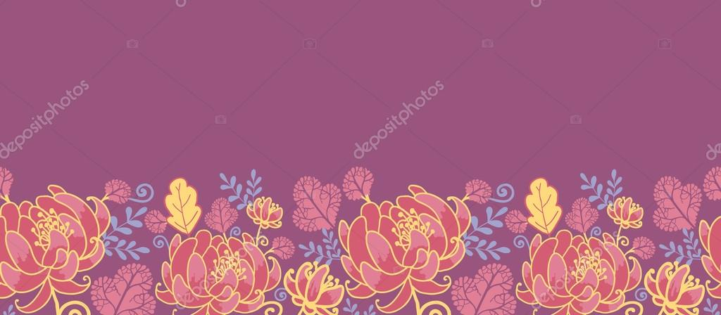 Magical flowers horizontal seamless pattern background