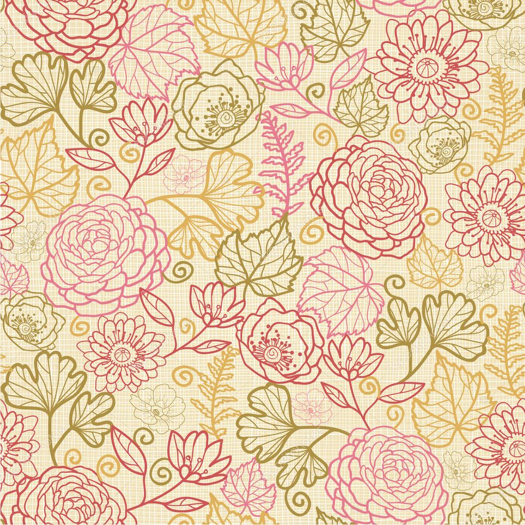 Textile flowers seamless pattern background