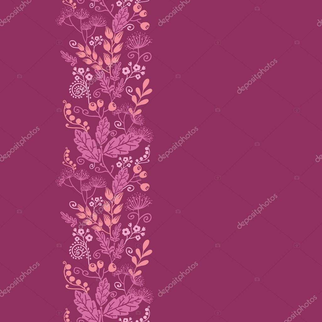 Fall garden vertical seamless pattern background border