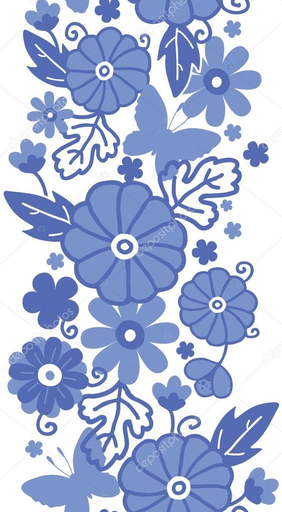 Frontera Delft Azul Flores Holandesas De Patrones Sin Fisuras