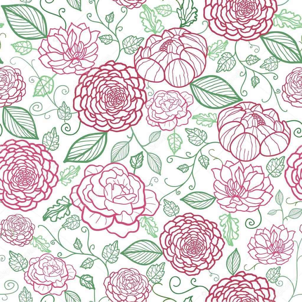 Floral line art seamless pattern background