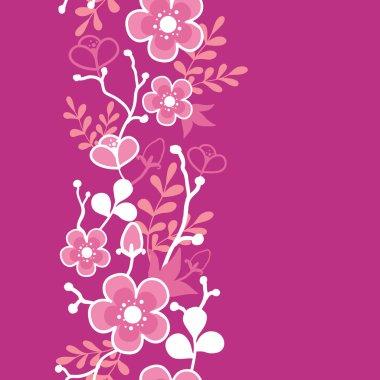 Pink Sakura Kimono Blossom Vertical Seamless Pattern Border