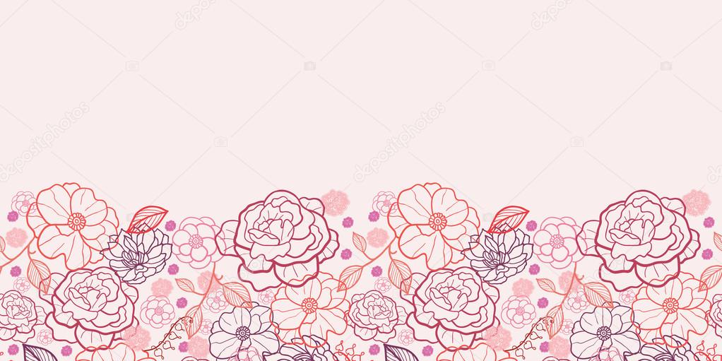 Line Art Flowers Vector : Line art flowers horizontal seamless pattern background