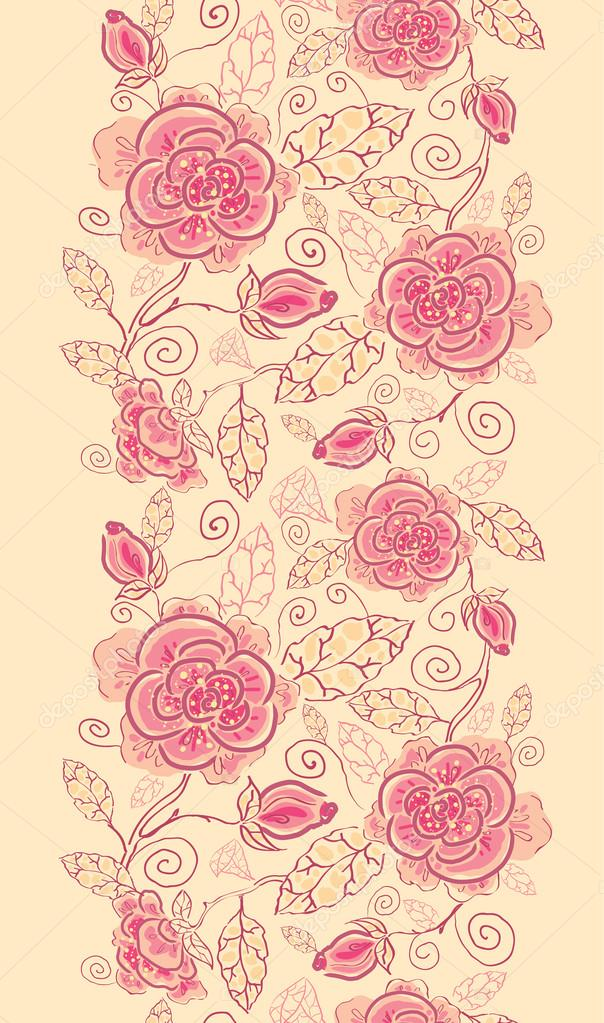 Line art roses vertical seamless pattern background border
