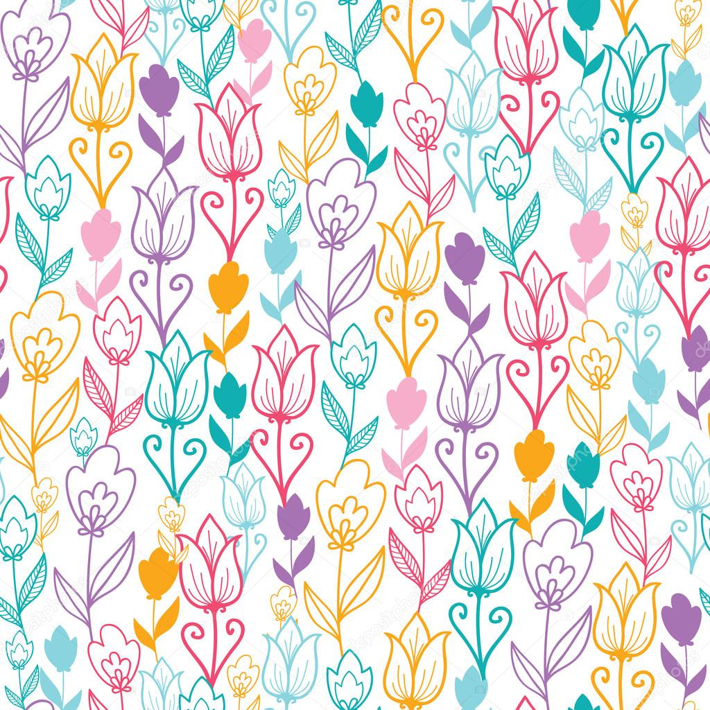 Colorful tulip flowers seamless pattern background