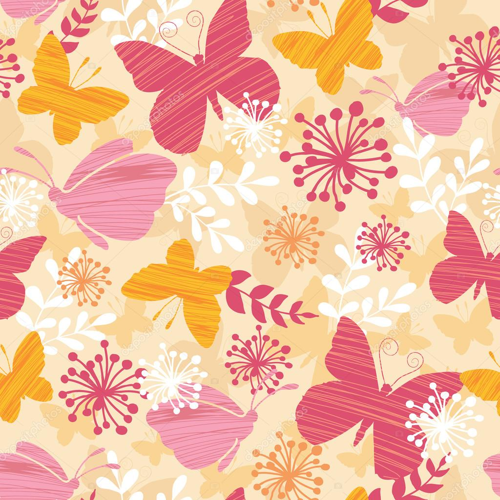Textured Butterflies Seamless Pattern Background