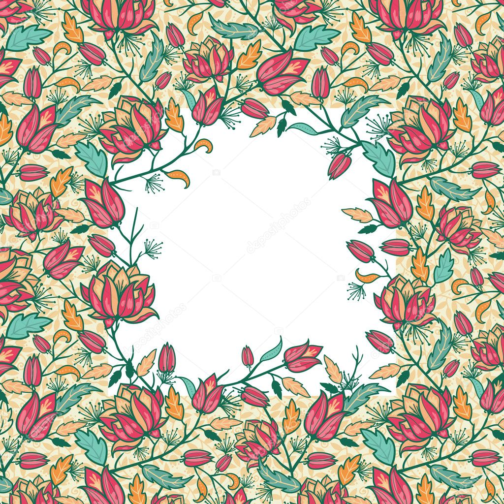 Colorful flowers and leaves frame seamless pattern border