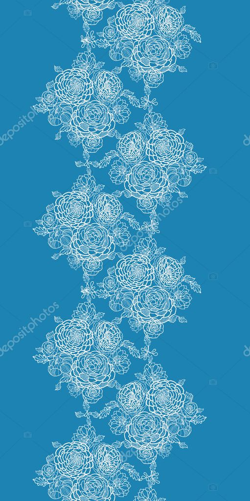 Blue lace flowers vertical seamless pattern background border