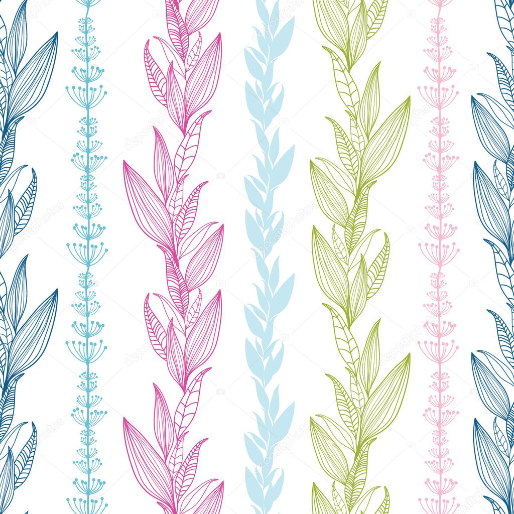 Floral stripes vertical seamless pattern background