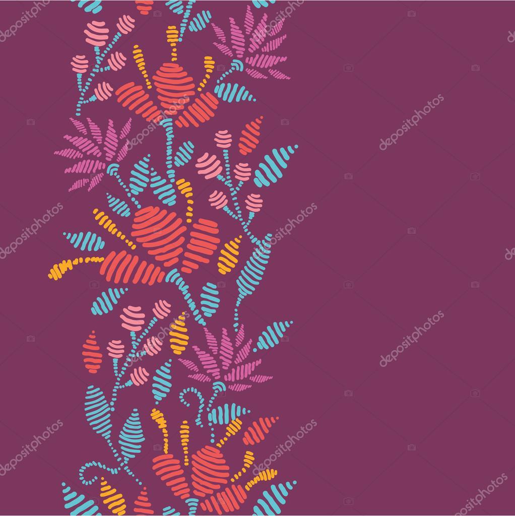 Emboridered Flowers Vertical Seamless Pattern border
