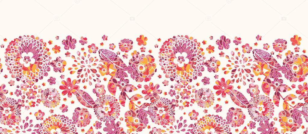 Textured flowers horizontal seamless pattern background border