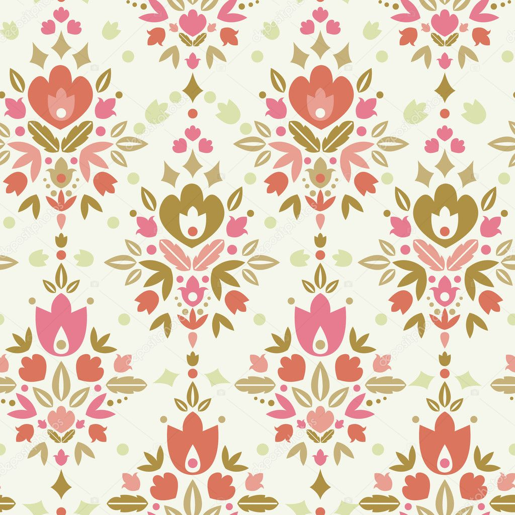 Floral damask seamless pattern background