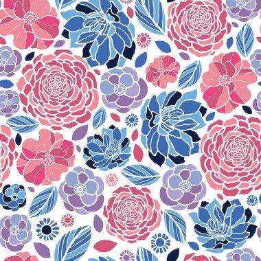 Mosaic flowers seamless pattern background