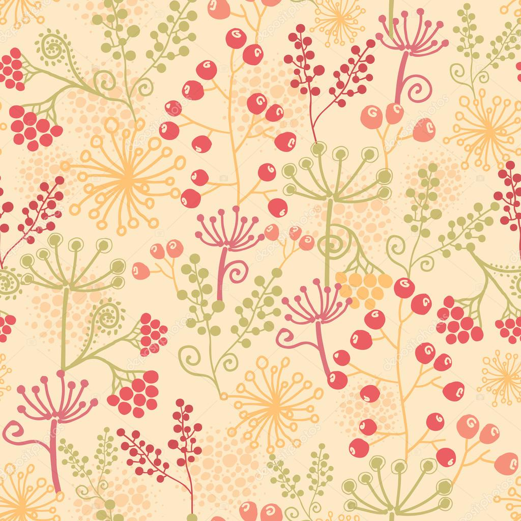 Summer berries seamless pattern background