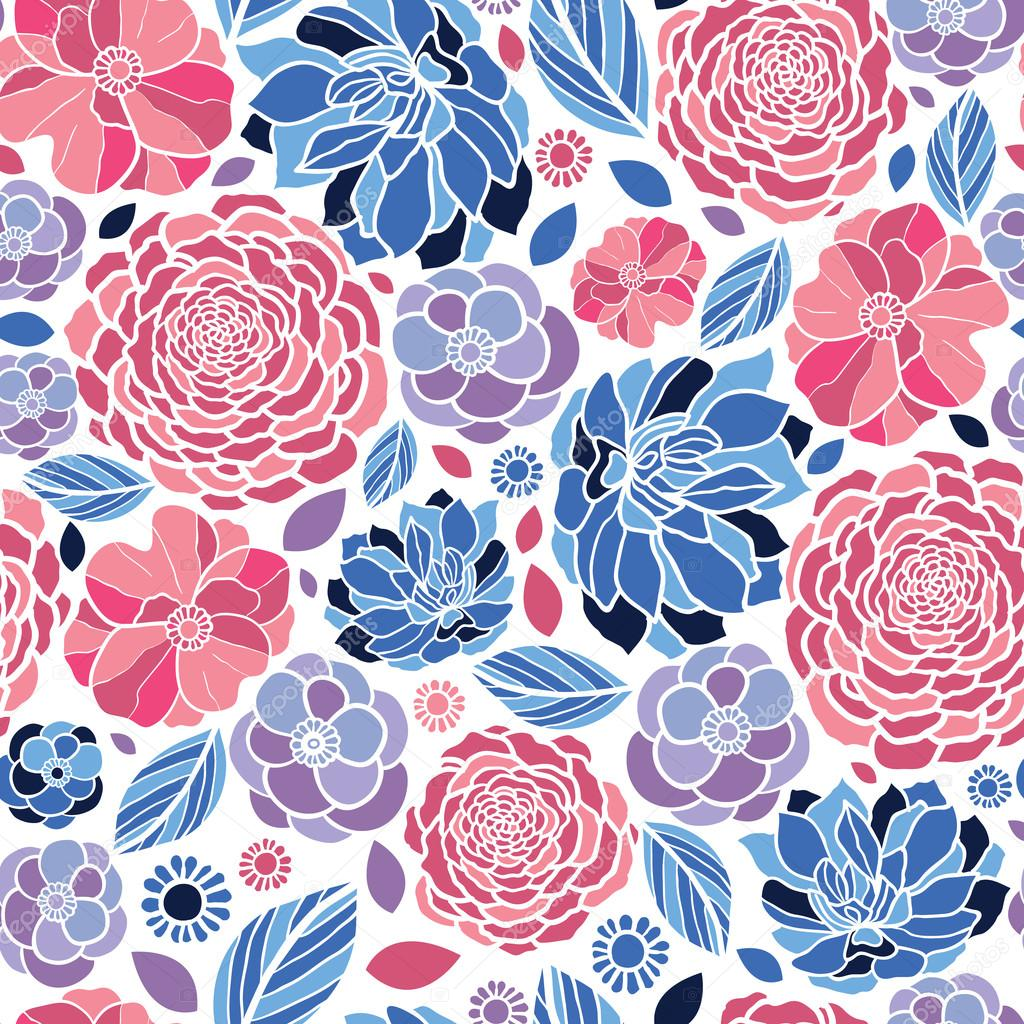 Mosaic flowers seamless pattern background