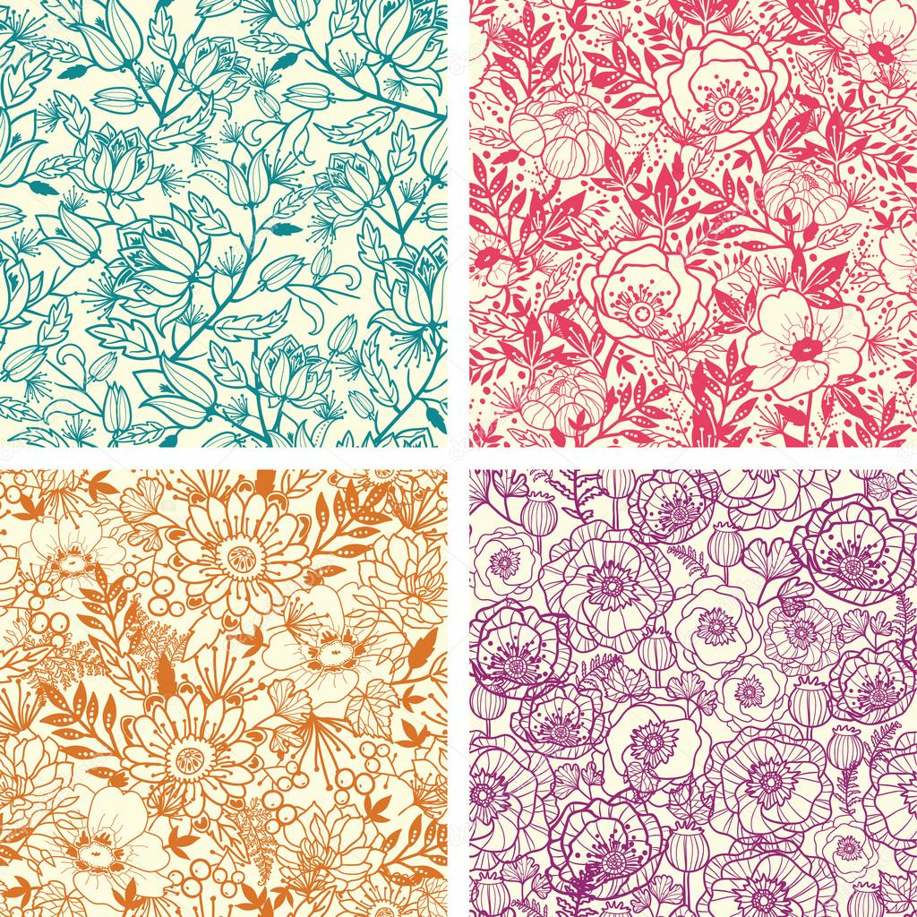 Set of four floral line art seamless pattern background