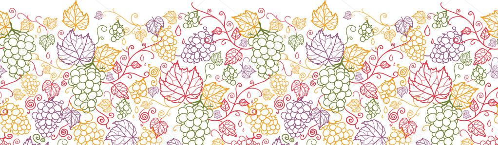 Line art grape vines horizontal seamless pattern background