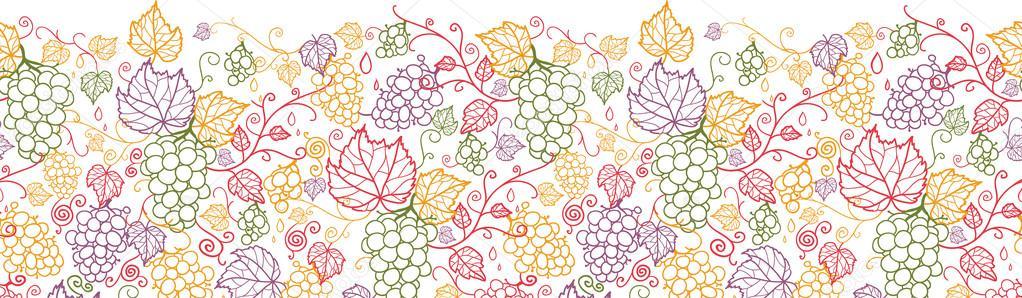 Line art grape vines horizontal seamless pattern background