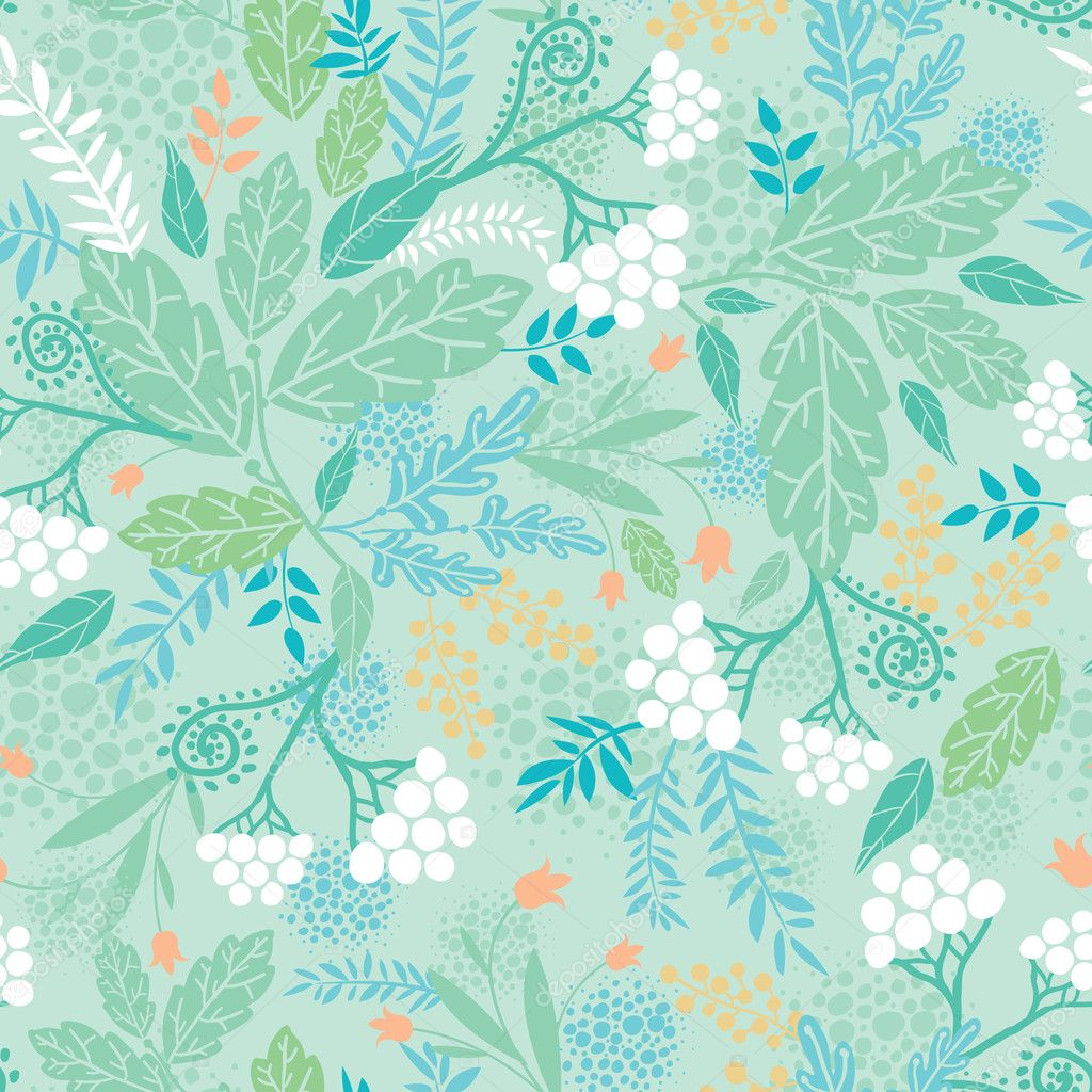 Spring berries seamless pattern background