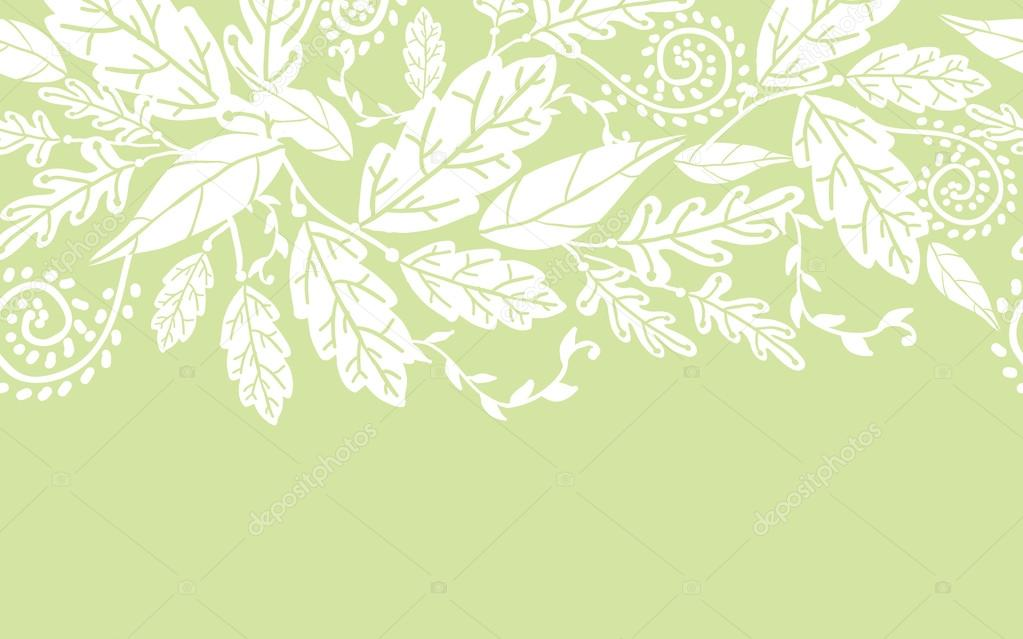 White flowers and leaves horizontal seamless pattern border