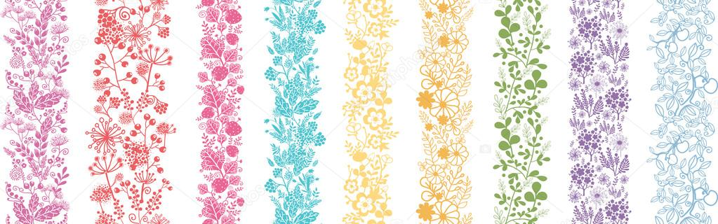 Set Of Nine Abstract Plant Vertical Seamless Patterns Border