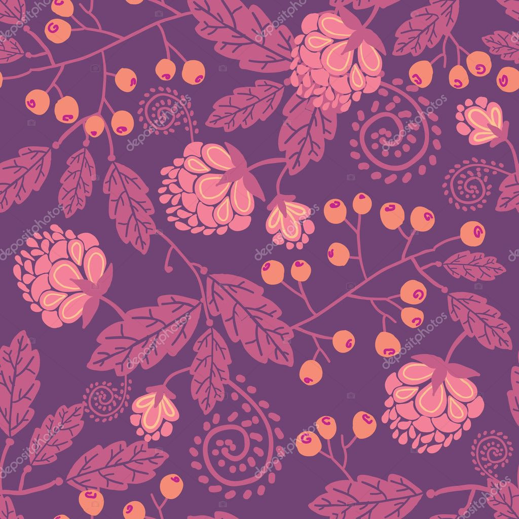 Purple flowers and berries seamless pattern background