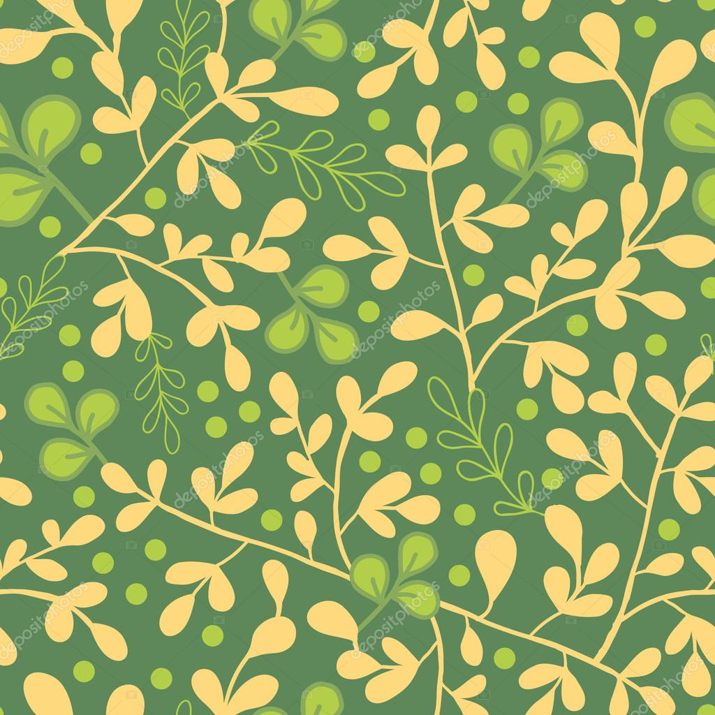 Green And Gold Leaves Seamless Pattern Background