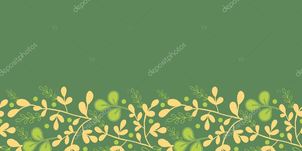 Green And Gold Leaves Horizontal Seamless Pattern Border