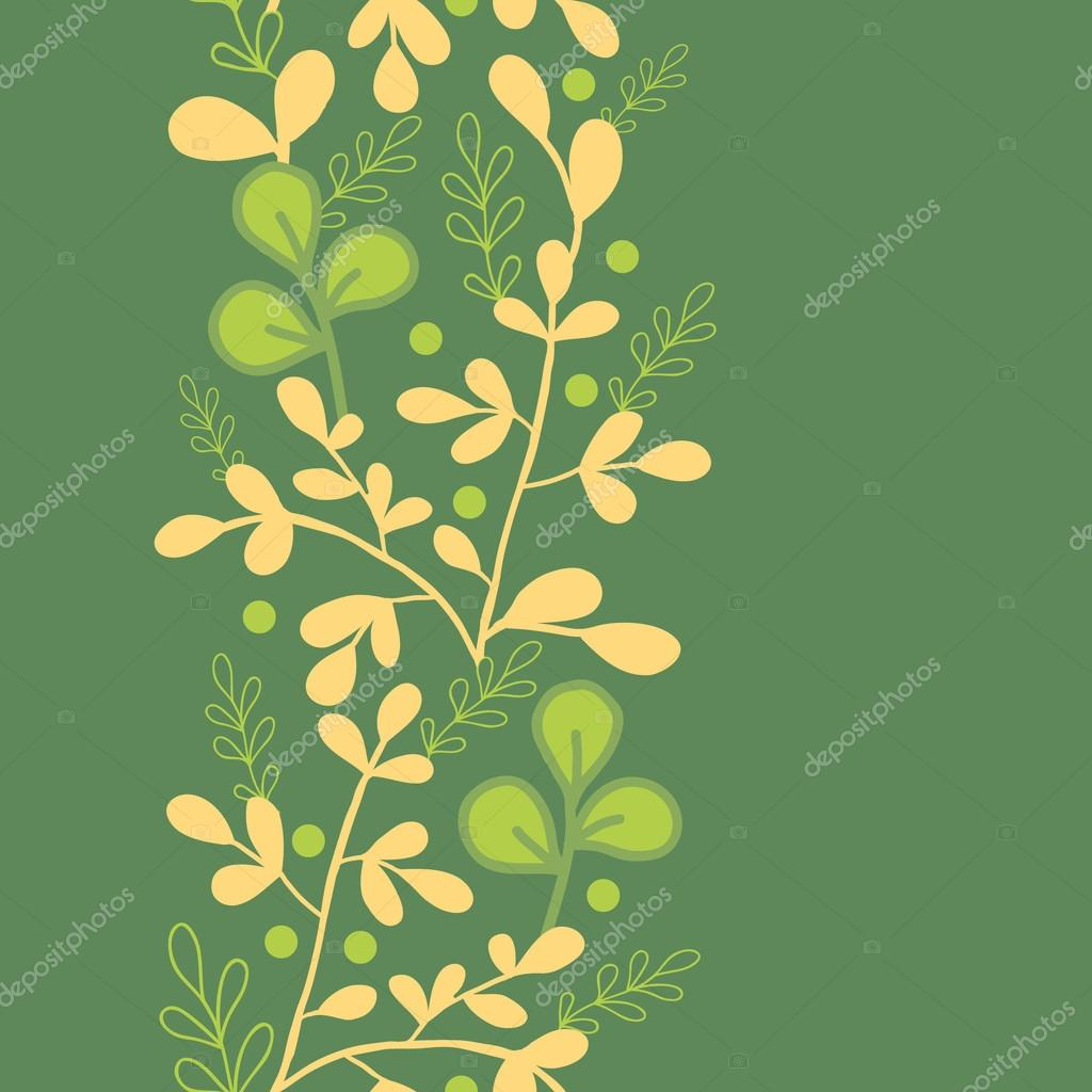 Green And Gold Leaves Vertical Seamless Pattern Border