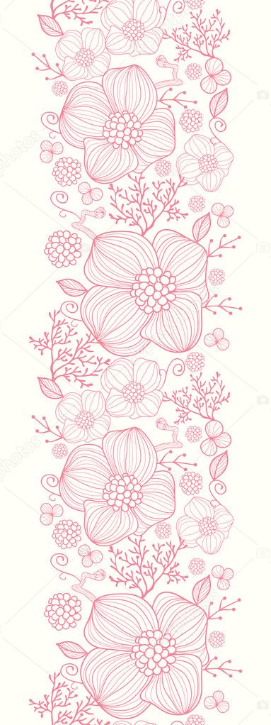 Red line art flowers vertical seamless pattern background border