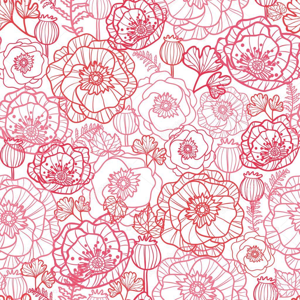 Poppy flowers line art seamless pattern background